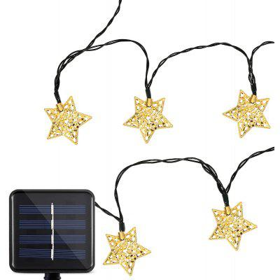 Buy COOL WHITE LIGHT Solar Powered Waterproof 20 LEDs Iron Star String Light for $12.88 in GearBest store
