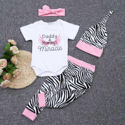 SOSOCOER 4pcs Baby Romper Zebra Print Pants Headwear Hatbaby rompers<br>SOSOCOER 4pcs Baby Romper Zebra Print Pants Headwear Hat<br><br>Closure Type: Single Breasted<br>Collar: Round Neck<br>Decoration: Pattern<br>Gender: Girl<br>Material: Cotton Blend<br>Package Contents: 1 x Baby Romper, 1 x Pair of Pants, 1 x Hat, 1 x Headwear<br>Pattern Style: Letter<br>Season: Summer<br>Sleeve Length: Short<br>Sleeve Style: Regular<br>Style: Leisure<br>Thickness: General<br>Weight: 0.2080kg