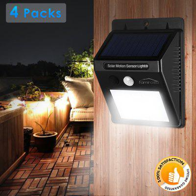 Famirosa 4PCS 25-LED Solar Powered Motion Sensor LampsOutdoor Lights<br>Famirosa 4PCS 25-LED Solar Powered Motion Sensor Lamps<br><br>Body Material: ABS<br>Is Bulbs Included: Yes<br>Is Dimmable: Yes<br>Light Source: LED Bulbs<br>Package Contents: 4 x Light, 4 x Screw, 4 x Gum Cover, 4 x Tape, 4 x English User Manual<br>Package Size(L x W x H): 26.50 x 20.00 x 6.00 cm / 10.43 x 7.87 x 2.36 inches<br>Package weight: 0.8280 kg<br>Product Size(L x W x H): 12.40 x 9.60 x 4.70 cm / 4.88 x 3.78 x 1.85 inches<br>Product weight: 0.5220 kg<br>Style: Modern