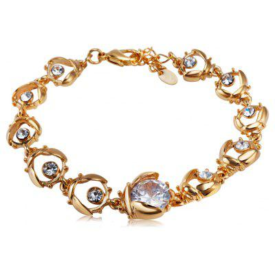 Buy GOLDEN Hollow Out Rhinestone Plated Women Chain Bracelet for $7.05 in GearBest store