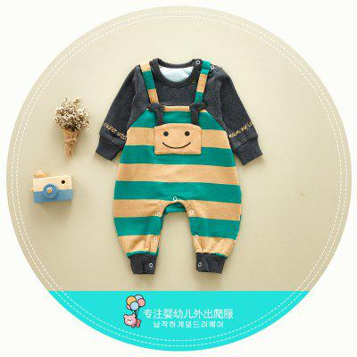 Baby clothing cotton long-sleeved baby Siamese climbing clothes to increase the Korean version of the new cartoon children's clothing