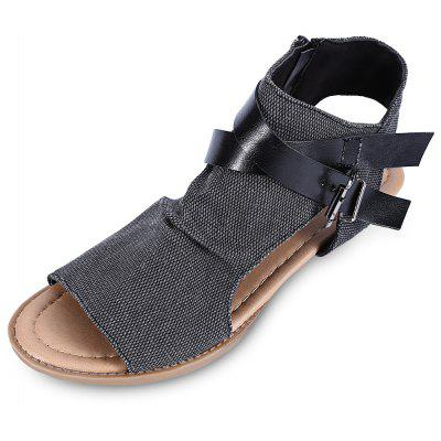 Open Toe Zipper Slingback Sandals Women Flat Shoes
