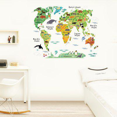 Cartoon Background Colorful World Map Wall Stickers