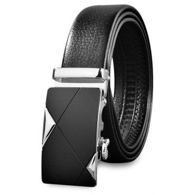 Chic Men Automatic Sliding Buckle Girdle Leather Belt Strap