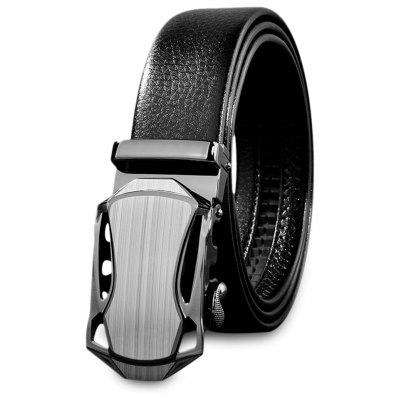 Men Automatic Sliding Alloy Buckle Girdle Leather Belt Strap