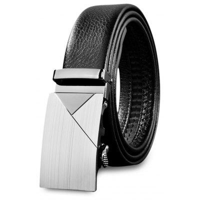 Men Stylish Automatic Sliding Buckle Girdle Leather Belt Strap
