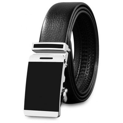 Male Stylish Automatic Sliding Buckle Girdle Leather Belt Strap