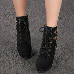 Lace-up Zipper Platform High Heel Women Ankle Boots - BLACK