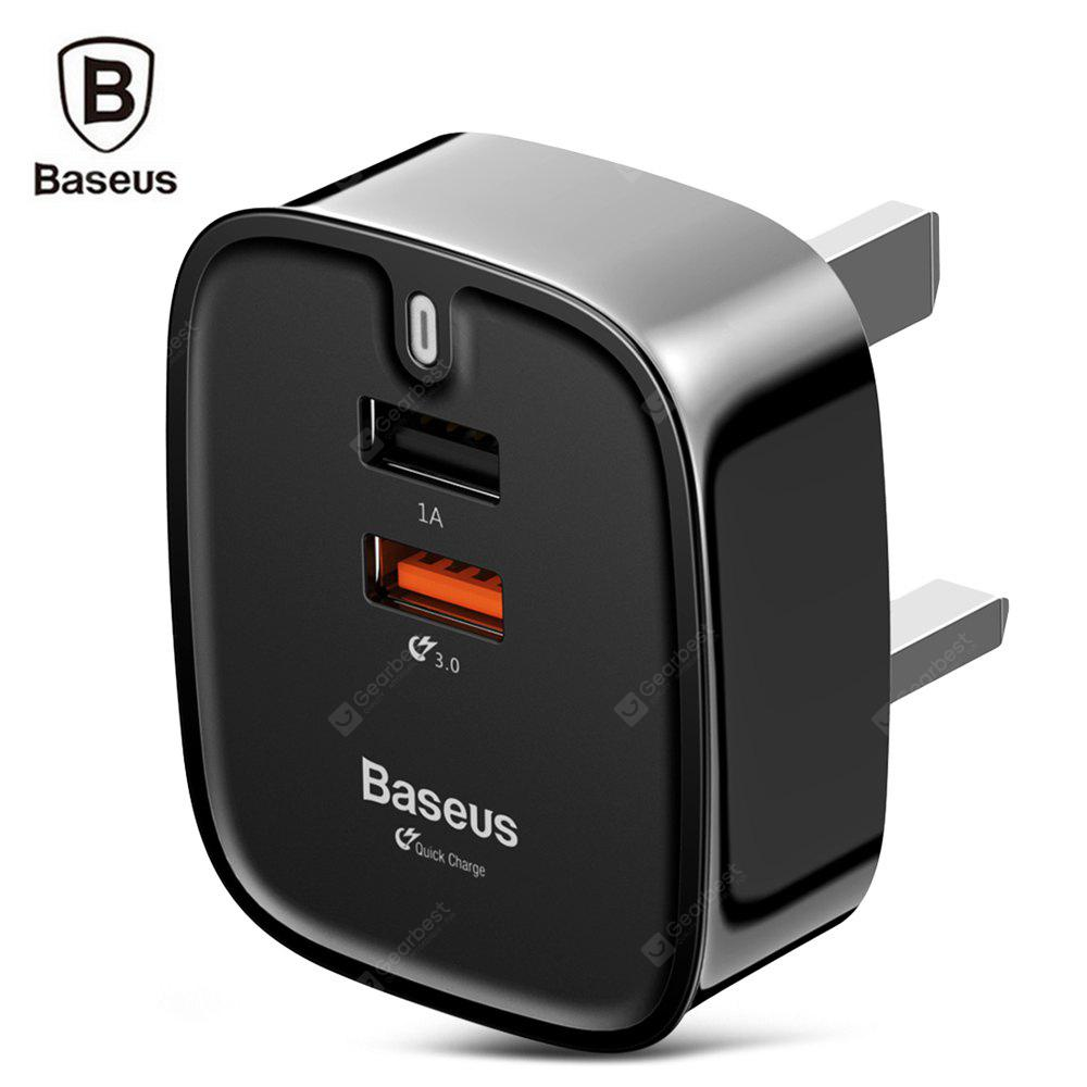 Baseus Funzi QC 3.0 Dual USB Smart Travel Charger UK Plug BLACK