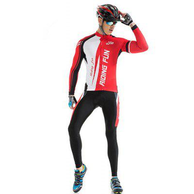 RIDING FUN Men Breathable Long-sleeved Riding Clothes Suit with 3D Sponge Padded
