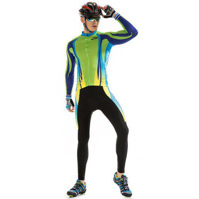 RIDING FUN Men Anti-UV Long-sleeved Riding Clothes Suit with 3D Sponge Cushion