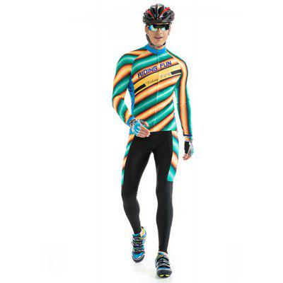 RIDING FUN Men Breathable Long Sleeve Riding Clothes Suit with 3D Sponge Padded