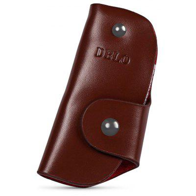 DIBAOLEIOU Solid Color Letter Print Leather Car Keys Ring