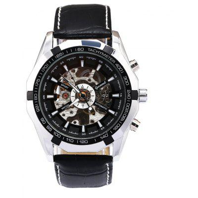 Buy Gucamel G043 Men Auto Mechanical Watch, BLACK LEATHER BAND+BLACK DIAL, YINJIXIN, Watches & Jewelry, Men's Watches for $26.44 in GearBest store