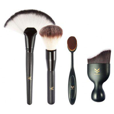 Buy BLACK HUAMIANLI 4pcs Makeup Tool Powder Foundation Brush for $8.10 in GearBest store