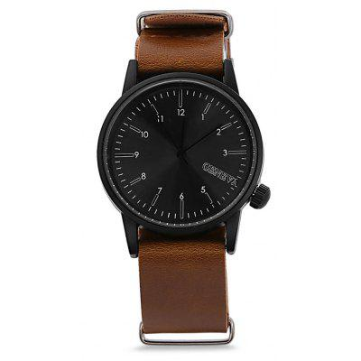 Buy BROWN LEATHER BAND+BLACK DIAL Geneva Fashion Men Quartz Watch for $5.75 in GearBest store