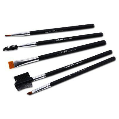 JAF 5pcs Portable Black Makeup Brush Set Professional Cosmetic Tool