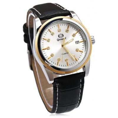 Gucamel B008 Men Leather Band Quartz Watch