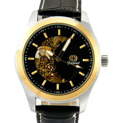 Gucamel G017 Male Auto Mechanical WatchMens Watches<br>Gucamel G017 Male Auto Mechanical Watch<br><br>Band Length: 8.07 inch<br>Band Material Type: Genuine Leather<br>Band Width: 20mm<br>Case material: Alloy<br>Case Shape: Round<br>Clasp type: Pin Buckle<br>Dial Diameter: 1.87 inch<br>Dial Display: Analog<br>Dial Window Material Type: Hardlex<br>Feature: Luminous<br>Gender: Men<br>Movement: Automatic Self-Wind<br>Package Contents: 1 x Watch<br>Package Size(L x W x H): 14.50 x 6.00 x 2.00 cm / 5.71 x 2.36 x 0.79 inches<br>Package weight: 0.1070 kg<br>Product Size(L x W x H): 25.50 x 5.00 x 1.50 cm / 10.04 x 1.97 x 0.59 inches<br>Product weight: 0.0780 kg<br>Style: Business<br>Water Resistance Depth: 30m