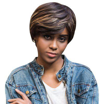 AISIHAIR Short Straight Mixed Colors Side Bangs Synthetic Wig