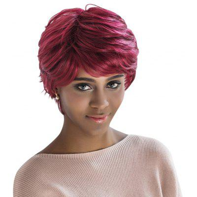 AISIHAIR Short Loose Curly Wine Red Side Bangs Synthetic Wigs