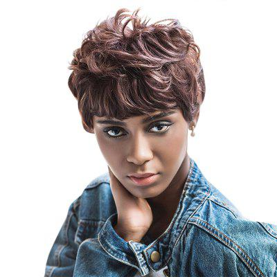 AISIHAIR Women Short Curly Full Bangs Brown Synthetic Wigs