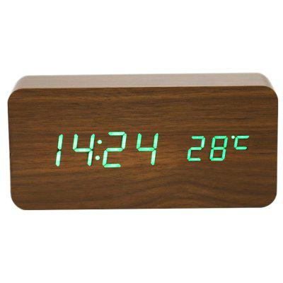 LED Voice-activated Electronic Wooden Alarm Clock