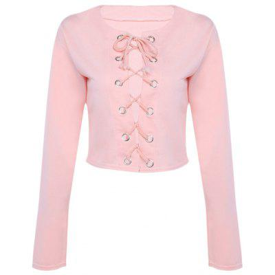 Round Collar Long Sleeve Lace-up Women Crop Top