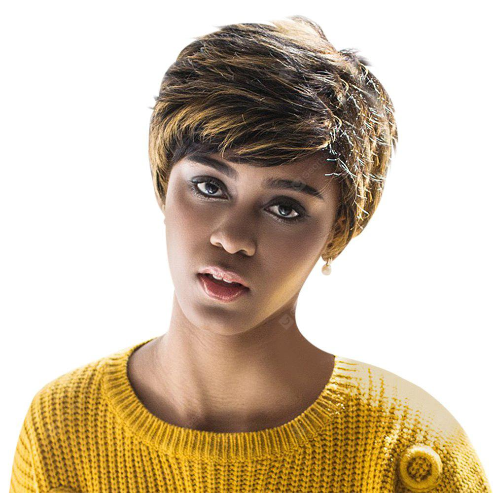 AISIHAIR Short Natural Straight Side Bangs Perruques synthétiques