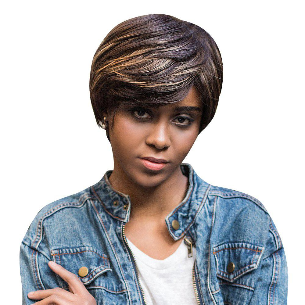 AISIHAIR Short Straight Mixed Colors Side Bangs Perruque synthétique