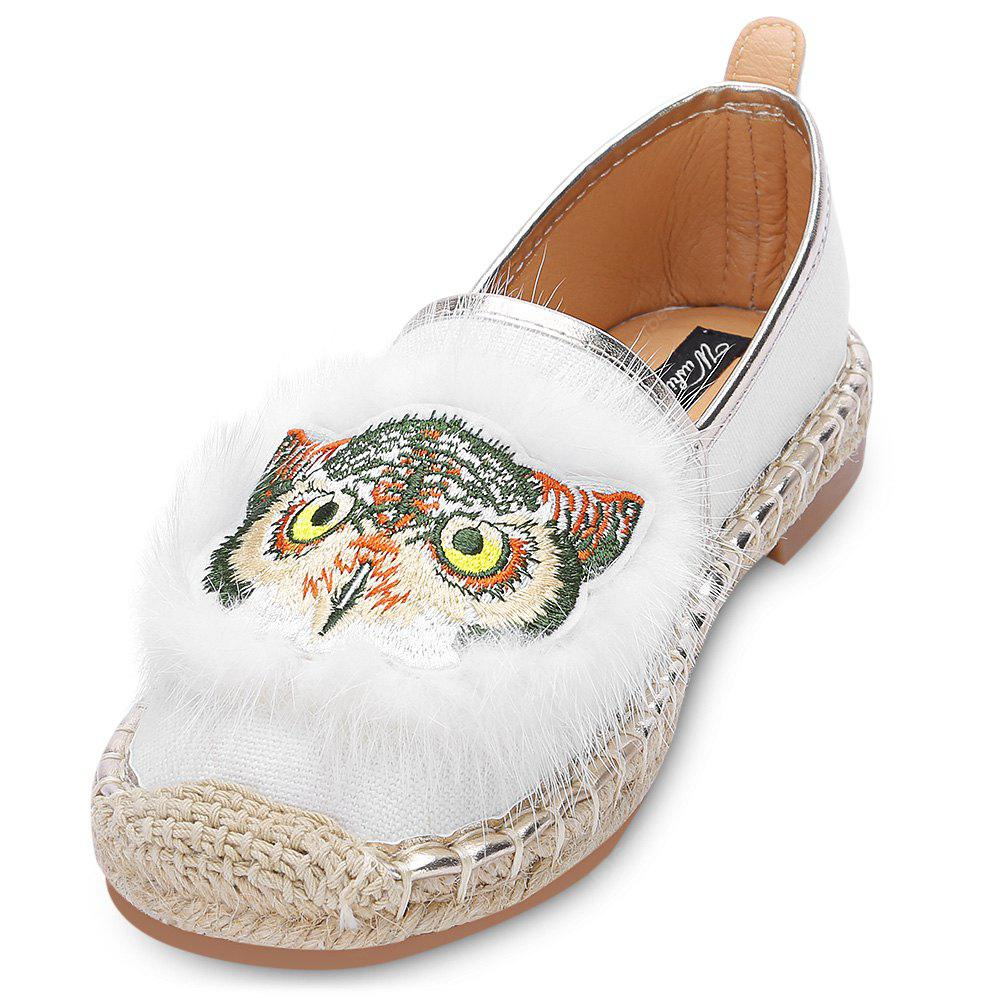 Owl Pattern Round Toe Espadrilles Flat Loafers Women Shoes