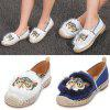 Owl Pattern Round Toe Espadrilles Flat Loafers Women Shoes - WHITE