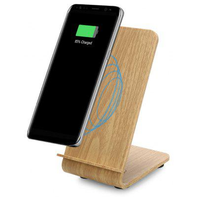 YoLike A8 10W Qi Wireless Charger Stand Wood Grain Dual Coil