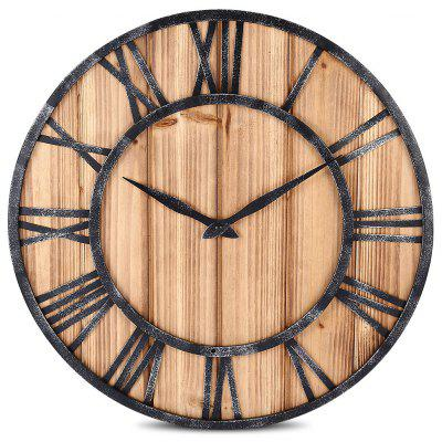European Vintage Solid Wood Metal Wall Clock