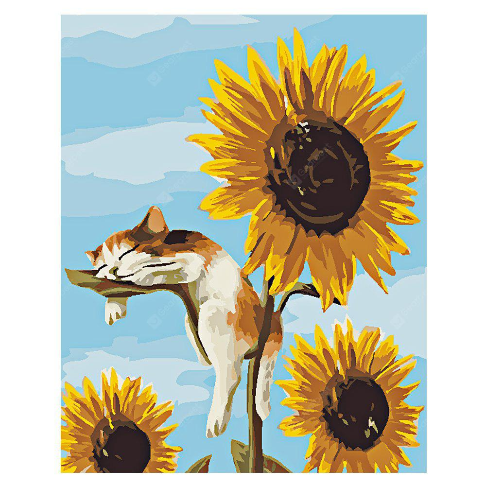 COLORMIX Sunflower Lazy Cat DIY Digital Oil Painting Art Wall Decoration