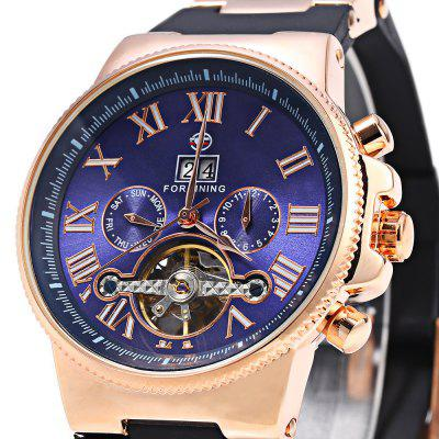 Forsining 2373 Male Tourbillon Automatic Mechanical WatchMens Watches<br>Forsining 2373 Male Tourbillon Automatic Mechanical Watch<br><br>Band material: Rubber<br>Brand: Forsining<br>Case material: Stainless Steel<br>Clasp type: Pin buckle<br>Display type: Analog<br>Movement type: Automatic mechanical watch<br>Package Contents: 1 x Forsining 2373 Tourbillion Automatic Mechanical Watch<br>Package size (L x W x H): 27.70 x 5.70 x 2.70 cm / 10.91 x 2.24 x 1.06 inches<br>Package weight: 0.1710 kg<br>Product size (L x W x H): 26.70 x 4.70 x 1.70 cm / 10.51 x 1.85 x 0.67 inches<br>Product weight: 0.1110 kg<br>Shape of the dial: Round<br>Special features: Month, Tourbillon, Week, Date, Calendar, Working sub-dial<br>Style elements: Hollow Out<br>The band width: 2 cm / 0.79 inches<br>The bottom of the table: Gone<br>The dial diameter: 4.7 cm / 1.85 inches<br>The dial thickness: 1.7 cm / 0.67 inches<br>Watch style: Hollow-out<br>Watch-head: Screw-plug<br>Watches categories: Male table<br>Water resistance: 30 meters<br>Wearable length: 19 - 24 cm / 7.48 - 9.45 inches