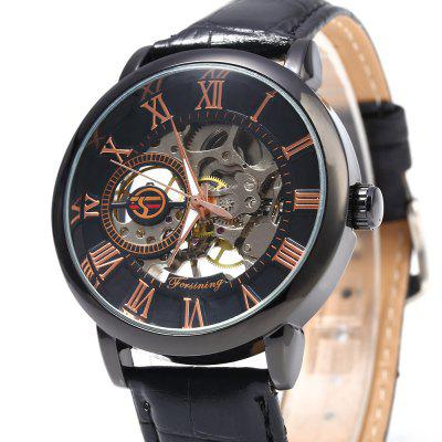 Forsining Men Self-Winding Auto Mechanical WatchMens Watches<br>Forsining Men Self-Winding Auto Mechanical Watch<br><br>Band material: Leather<br>Brand: Forsining<br>Case material: Stainless Steel<br>Clasp type: Pin buckle<br>Display type: Analog<br>Movement type: Mechanical watch<br>Package Contents: 1 x Forsining Men Mechanical Watch<br>Package size (L x W x H): 25.00 x 5.50 x 1.80 cm / 9.84 x 2.17 x 0.71 inches<br>Package weight: 0.1100 kg<br>Product size (L x W x H): 24.00 x 4.50 x 0.80 cm / 9.45 x 1.77 x 0.31 inches<br>Product weight: 0.0500 kg<br>Shape of the dial: Round<br>The band width: 1.8 cm / 0.71 cm<br>The dial diameter: 4 cm / 1.57 inches<br>The dial thickness: 0.8 cm / 0.32 inches<br>Watch style: Fashion, Casual<br>Watches categories: Male table<br>Wearable length: 18 - 22 cm / 7.09 - 8.66 inches