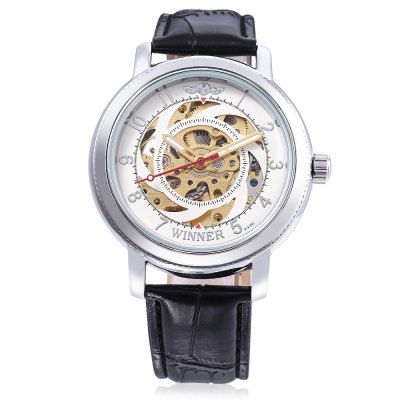 WINNER W111801 Male Auto Mechanical WatchMens Watches<br>WINNER W111801 Male Auto Mechanical Watch<br><br>Band Length: 8.27 inch<br>Band Material Type: Leather<br>Band Width: 20mm<br>Case material: Alloy<br>Case Shape: Round<br>Clasp type: Pin Buckle<br>Dial Diameter: 1.57 inch<br>Dial Display: Analog<br>Dial Window Material Type: Glass<br>Feature: Luminous<br>Gender: Men<br>Movement: Automatic Self-Wind<br>Package Contents: 1 x WINNER W111801 Male Auto Mechanical Watch<br>Package Size(L x W x H): 26.50 x 5.50 x 2.20 cm / 10.43 x 2.17 x 0.87 inches<br>Package weight: 0.0800 kg<br>Product Size(L x W x H): 25.50 x 4.50 x 1.20 cm / 10.04 x 1.77 x 0.47 inches<br>Product weight: 0.0580 kg<br>Style: Business