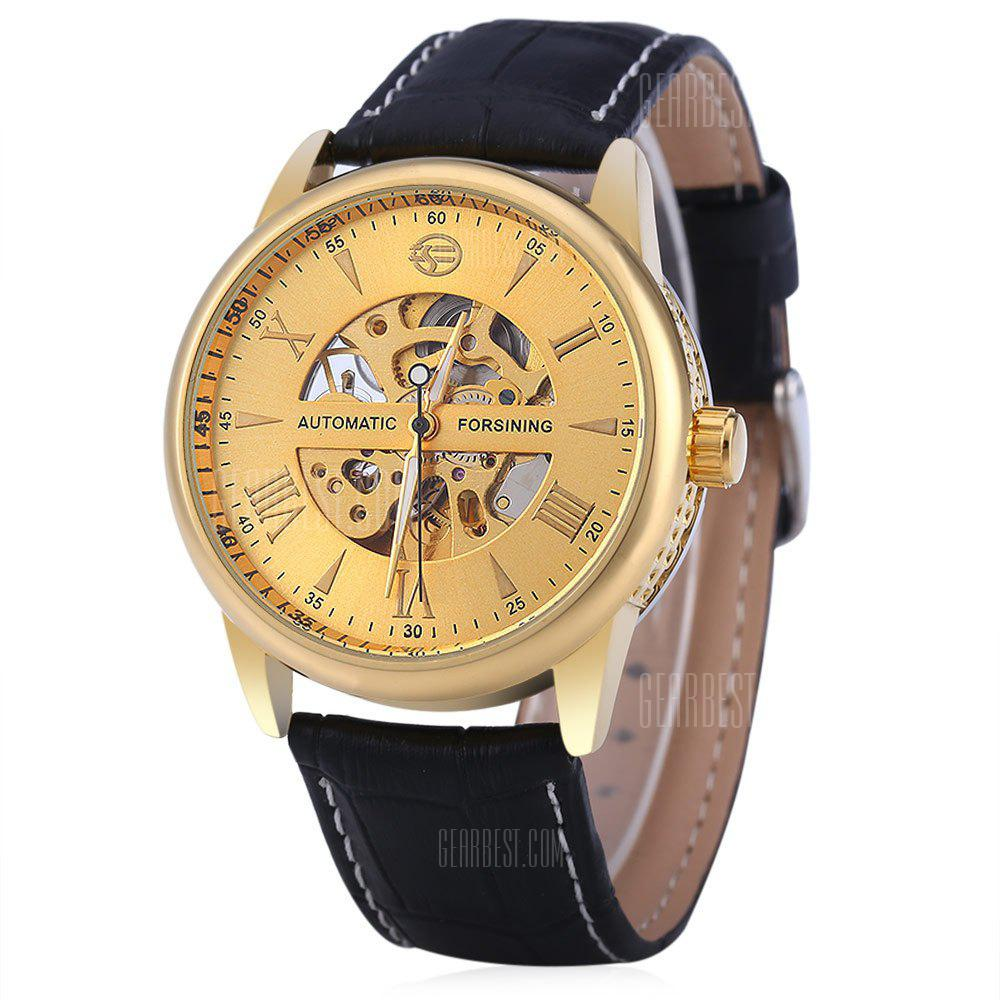 Forsining A694 Male Hollow Automatic Mechanical Watch BLACK AND GOLDEN