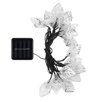 VCT - SLC - 041 20 LEDs Iron Tree Leaf Solar String LightOutdoor Lights<br>VCT - SLC - 041 20 LEDs Iron Tree Leaf Solar String Light<br><br>Is Bulbs Included: Yes<br>Is Dimmable: No<br>Light Source: LED Bulbs<br>Package Contents: 1 x Solar Panel, 1 x String Light, 1 x 20cm Spike, 1 x English User Manual<br>Package Size(L x W x H): 19.00 x 10.00 x 11.00 cm / 7.48 x 3.94 x 4.33 inches<br>Package weight: 0.3090 kg<br>Product weight: 0.2430 kg<br>Style: Art Deco