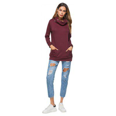 Funnel Neck Long Sleeve Pocket Women Sweatshirt