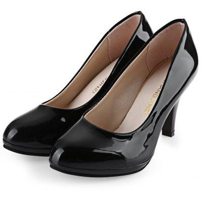 Shallow Mouth Patent Leather Thick High Heel Shoes