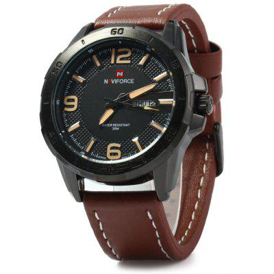 NAVIFORCE 9055 Men Leather Band Quartz Watch