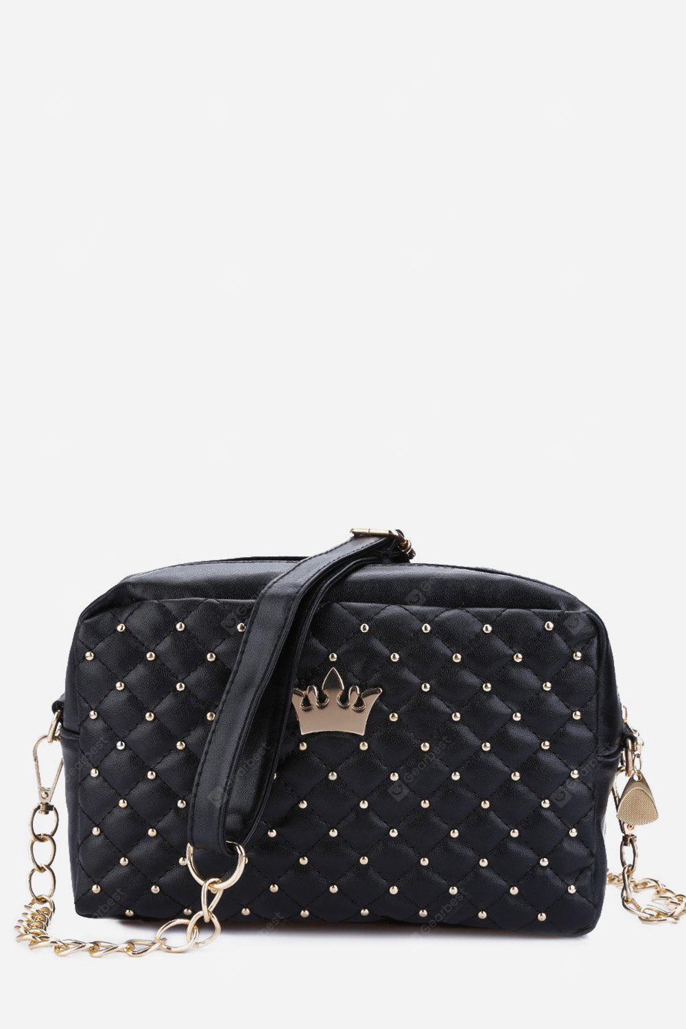 Guapabien Crown Rivet Grid Shoulder Messenger Bag