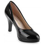 Shallow Mouth Patent Leather Thick High Heel Shoes - BLACK