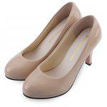 Shallow Mouth Patent Leather Thick High Heel Shoes - BEIGE
