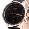 GUANQIN Male Leather Calendar Luminous Analog Quartz Watch with Moving Sub-dials - BLACK GOLDEN BLACK