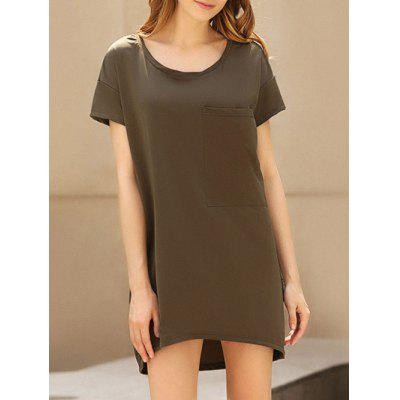 Buy Casual Scoop Collar Short Sleeve Front Pocket Asymmetrical Solid Color Women T-Shirt Dress, BROWN, S, Apparel, Women's Clothing, Women's Dresses, Mini Dresses for $9.12 in GearBest store