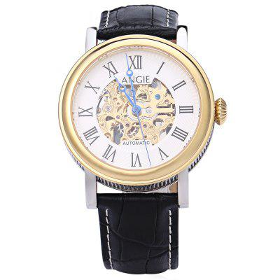 Angie Lepels Series Men Automatic Wind Mechanical WatchMens Watches<br>Angie Lepels Series Men Automatic Wind Mechanical Watch<br><br>Band Length: 7.87 inch<br>Band Material Type: Leather<br>Band Width: 20mm<br>Case material: Stainless Steel<br>Case Shape: Round<br>Clasp type: Pin Clasp<br>Dial Diameter: 1.57 inch<br>Dial Display: Analog<br>Dial Window Material Type: Sapphire<br>Gender: Men<br>Movement: Automatic Self-Wind<br>Package Contents: 1 x Angie Lepels Series Men Automatic Wind Mechanical Watch<br>Package Size(L x W x H): 25.50 x 5.50 x 2.00 cm / 10.04 x 2.17 x 0.79 inches<br>Package weight: 0.088 kg<br>Product Size(L x W x H): 24.50 x 4.50 x 1.00 cm / 9.65 x 1.77 x 0.39 inches<br>Product weight: 0.066 kg<br>Style: Sport<br>Water Resistance Depth: 50m