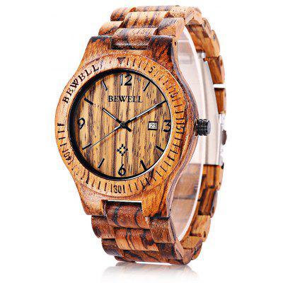 Bewell ZS - W086B Men Quartz Watch Wooden Band Date Display